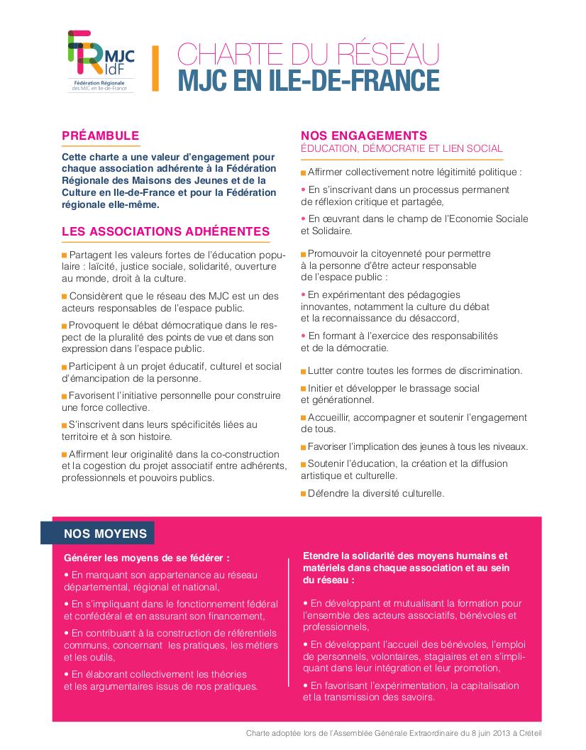 La Charte du réseau des MJC en Ile-de-France