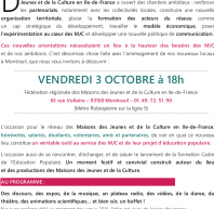 Inauguration des nouveaux locaux de la FRMJC-IdF – vendredi 3 octobre à 18h