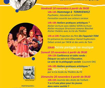 Festival de pédagogie sociale « Prendre soin et s'émanciper » 18 et 19 novembre à la MJC/MPT Savigny (91)