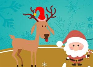Le Père Noël et un cerf portant un bonnet rouge.