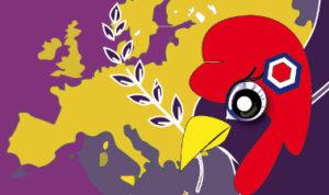 Un oiseau républicain sur fond de carte de l'Europe